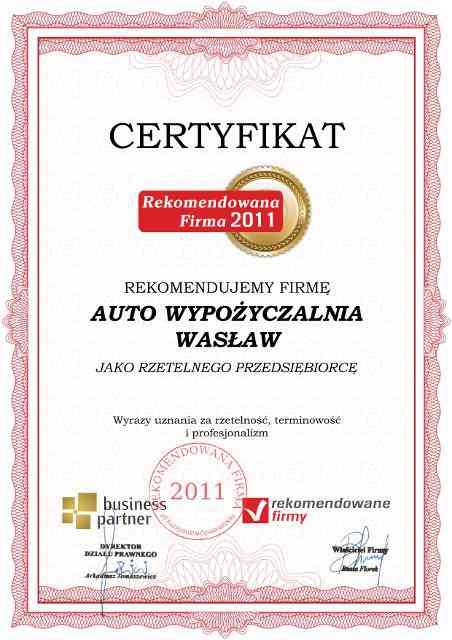 auto-wypozyczalnia-waslaw-certyfikat-2011